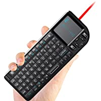 Rii RT-MWK02 4 In 1 Multifunction Portable Mini Wireless Bluetooth Version Keyboard with Touchpad Mouse ,Laser Pointer And Backlit LED , KODI XMBC Rechargable Keyboard , Multi-media Portable Handheld Android Keyboard for PC Laptop Raspberry PI MacOS Linux HTPC IPTV Google Smart TV Android Box XBMC Windows 2000 XP Vista 7 8 10 (Black UK Layout)