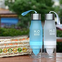 650 ml H2O Frosted deportes salud jugo de limón taza aplicar a tu propia naturaleza bebidas con infusor de frutas botella de agua – Botella de agua portátil exprimidor jugo Limón Fruta Infusor Taza de salud (blanco)