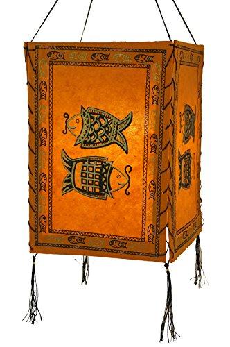 Guru-Shop Lokta Papier Hänge-Lampenschirm, Deckenleuchte aus Handgeschöpftem Papier - Fisch Orange, Lokta-Papier, 28x18x18 cm, Papierlampenschirme Quadratisch