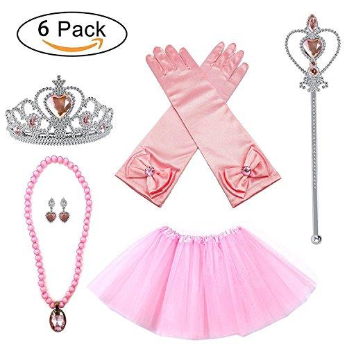 Prinzessin Belle Zubehör Belle Dress up Kostüm Halloween Kinder Geschenk Rosa Prinzessin Kleid Prinzessin Belle Kostüm Party Dress up 6 Set Handschuhe, Zauberstab Tiara, Tutu, Ohrringe, (Kostüme Group 8 Für Halloween)