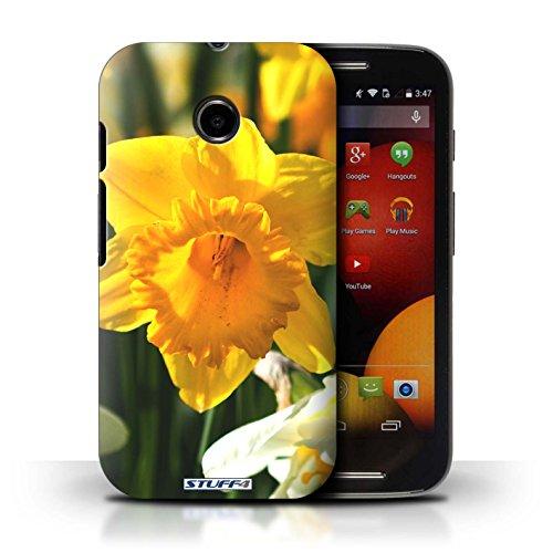 Kobalt® Imprimé Etui / Coque pour Motorola Moto E (2014) / Champs de fleurs conception / Série floral Fleurs jonquille