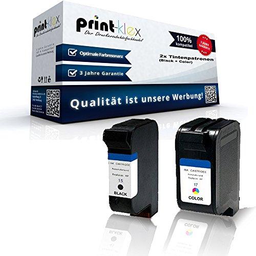 Print-Klex 2x kompatible Tintenpatronen für HP DeskJet 816C 817C 825C 825CVR 840C 841C 842C 843C 845C 845CVR Fax 1010 HP15 + HP17 Sparset - Office Line Serie C6615DE C6625AE C6615NE HP15+HP17 HP 15 HP 17 (Hp Deskjet 1010 Tinte)
