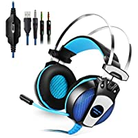 KingTop PS4 PC 3.5mm Cuffie Gaming Stereo Con Microfono Bass LED Luce Cuffie Da Gaming Per Game PS4 PC Tablet Laptop Iphone Samsung Xiaomi LG Headset Gaming - Blu