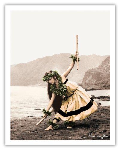 Pua Mit Stöcken (Kala'au) - Hawaiisch Hula-Tänzerin - Ursprüngliche Handkolorierten Fotografie von Alan Houghton - hawaiianischer Kunstdruck - 28cm x 36cm