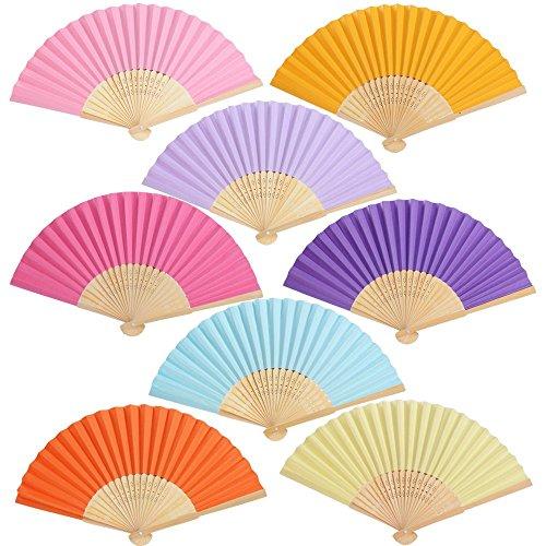 BETESSIN 24pcs Abanicos Plegables de Mano Abanicos de Papel y Bambú Paper Fan 8 Multi-Colores para Decoración Fiesta Baile Boda Casa Oficina DIY Regalo(8 Colores, 24pcs)