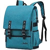 Junlion Vintage Laptop Backpack Professional Casual Rucksack Solid Color Canvas Travel Bag for Women and Men Peacock Blue