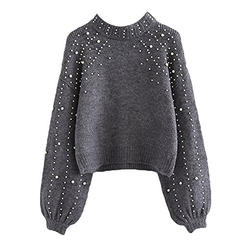 Rundhals Sweatshirt für Damen Frauen Mode Einfarbig Sweater mit Perlen Verziert Loose Lange Ärmel Strickpullover Jumper Oberteil Strickwaren für Winter Herbst