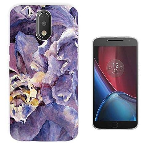 002923 - Purple Floral Roses flowers Petals Waves Effect Design Motorola MOTO G4 Play Fashion Trend Silikon Hülle Schutzhülle Schutzcase Gel Rubber Silicone Hülle