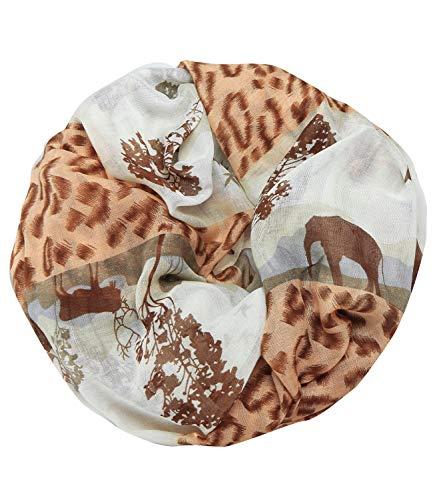 Caripe Loop Schal Schlauchschal Tiere Pferde Schmetterling Hunde Katzen Elefant unisex - sh22 (Afrika - braun)
