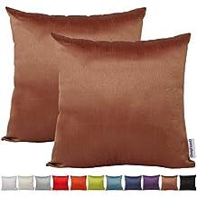 Comoco® -2pcs color sólido ligero de seda sintética funda para cojín decorativo para sofá disponible en 12colores y 7tamaños, marrón, 50 x 50 cm