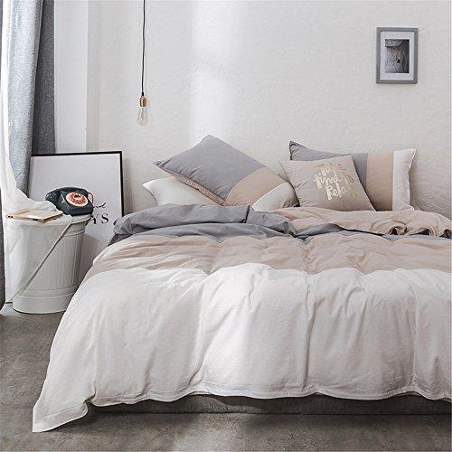 Limiz Einfache Reine Baumwolle im europäischen Stil Decke Vier Stücke, Zwilling (3 Stück), Königin, König. (Color : Grey, Size : Twin)
