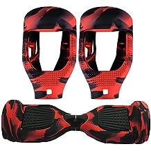 6.5 Pulgadas Protector Cubierta Funda de Silicona para Hoverboard Smart Scooter Balance Patinete Electrico Dos Ruedas (Rojo y negro)