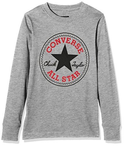 Converse Chuck Patch Long Sleeve, T-Shirt Bambino, Grigio (Vintage Grey Heather), 5-6 anni (Taglia Produttore: 5-6Y)