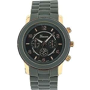 Montre Geneva Unisexe Cadran Gris/Ton Or Rose Effet Chronographe Bracelet Gris
