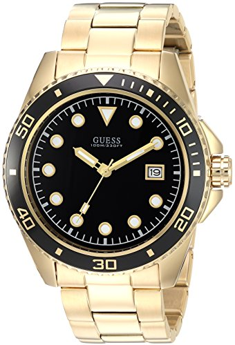 Guess Men's Stainless Steel Casual Watch, Color Gold-Tone/Black (Model: U1002G4)