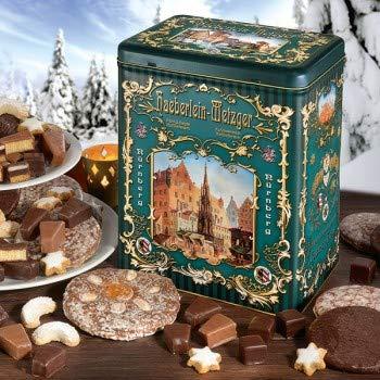 Nostalgie-Truhe, Keksdose mit Lebkuchen, Süßigkeiten-Box, Geschenkidee für Männer und Frauen, Gebäck zu Weihnachten, 1 x 1,6 kg