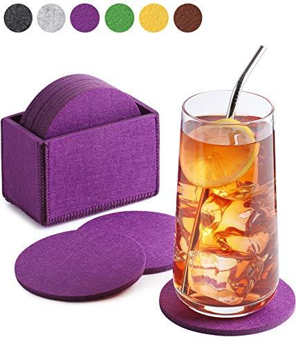 Sidorenko Filz Untersetzer rund für Gläser - 10er Set Ink. Box - Design Glasuntersetzer in violett/lila für Getränke, Tassen, Bar, Glas - Premium Tischuntersetzer Filzuntersetzer (Gläser Lila)