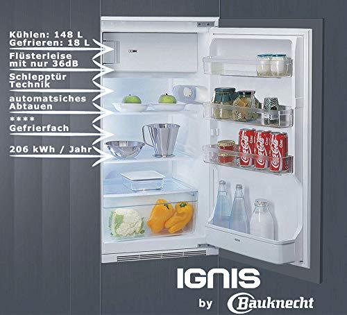 IGNIS ARL 393 A+ Einbau-Kühlschrank mit Gefrierfach /102 cm Höhe/ 206 kWh/Jahr / Gesamtnutzinhalt 164Liter / Gefrierteil 18 Liter/Leise mit nur 36 dB/Besonders energiesparend A+ / weiß