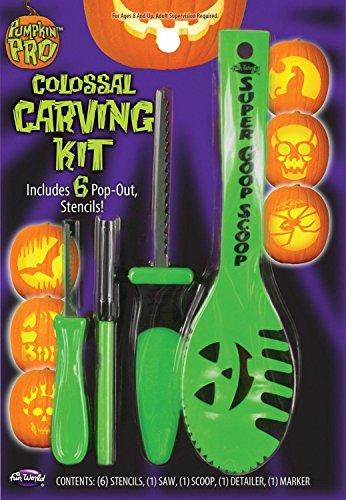 Pumpkin Pro Colossal Carving Kit Kürbis Schnitz Set + Pop Out Schablonen (Grün)