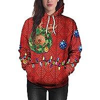 ☺Sweatshirts Hoodies Damen Oberteil Hemd T-shirt Pullover Locker Sport Kleidung mit Kapuzen Weihnachten Deer 3D Druck Kapuzenpullover Blumenmuster Langarmshirt Bluse mit Taschen Frauen Pulli Tops