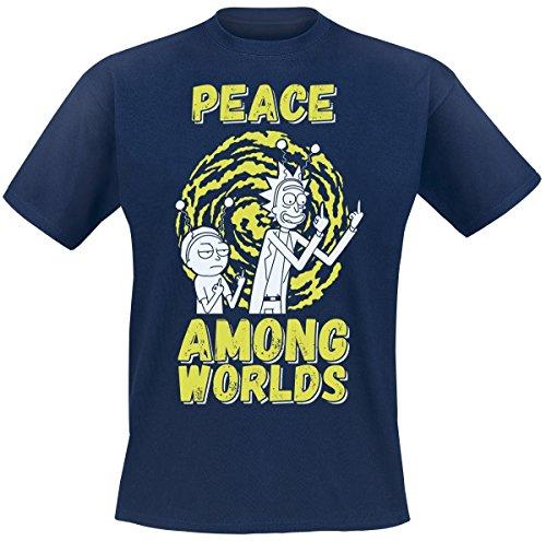 Rick And Morty Peace Among Worlds Camiseta Azul marino L