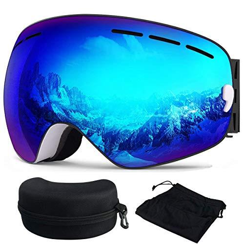 Skibrille, Ski Snowboardbrille Brillenträger Schneebrille Verspiegelt- Für Skibrillen mit Anti-Nebel UV-Schutz, Winter Schnee Sport, Austauschbar Sphärische Doppelte Linse für Männer Frauen(Blau) -