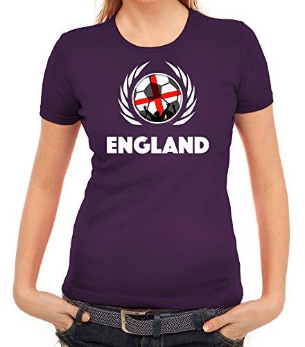 ShirtStreet World Cup Wappen Soccer Fussball WM Fanfest Gruppen Fan Wappen Damen T-Shirt Fußball England Lila