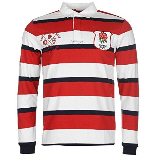 RFU Herren England Heritage Langarm Rugby Trikot Verschiedene Farben Red/Navy/White XX Large