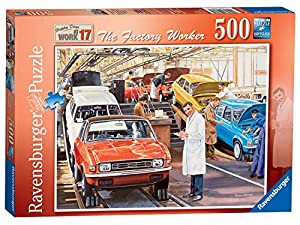 Rompecabezas Ravensburger Happy Days at Work Nº 17 - The Factory Worker de 500 Piezas