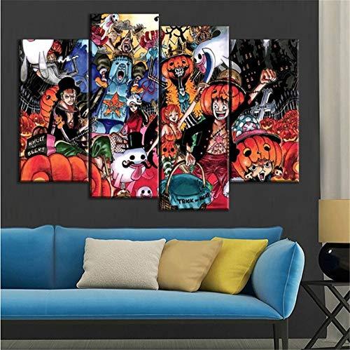 e Malerei Anime One Piece Halloween Bilder Wandkunst 4 Stück Home Decor Größe 3 (Kein Rahmen) ()
