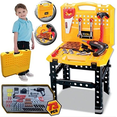 Great Gift For Kids ! 73pc Kids Work Bench Tool Box Kit Construction Set Toy Diy Drill Pretend Playset / Toys Game Play Kids Childrens Child Toddler Baby Cool Activity Educational Creative Fun Special Unique Devlopment Developmental Friends Boys Girls Pre