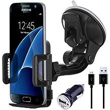 NessKa® Premium Universal Soporte De Coche Con Función de carga/Cargador Micro USB Cable de carga + Adaptador USB para coche para Samsung Galaxy S7/S7Edge/S6/S6Edge/Edge +/S5/S5Neo/S4/S3/Mini/A32016/A52016/J1/J3/J5/Xcover/Active/Note 12345/Ativ/Duos/Ace/Express/Grand/Prime/Pocket