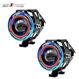 #7: AllExtreme 2 Pieces U11 CREE-LED - Head Hunters LED Projector 3000LMW Headlight Fog Lamp (Dual Ring Blue & Red) Fog Light