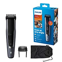 Philips Series 5000 Beard and Stubble Trimmer/Hair Clipper (0.4 mm - 20 mm) with Self-Sharpening Metal Blades - BT5502/13