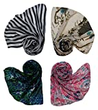 #10: Letz Dezine ™ Printed Poly Cotton Set of four mullticoloured stoles ; Scarf and stole for women