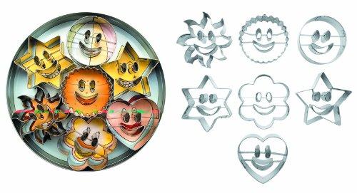 Ibili Accesorios Ausstechformen, Plätzchenformen, Keksausstecher, 7 Formen, mit lachenden Motiven, Durchmesser zwischen 5 und 6 cm