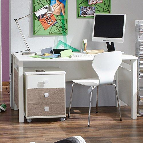 Kinderzimmer Schreibtisch Set »MIRA« alpinweiß - Eiche sägerau