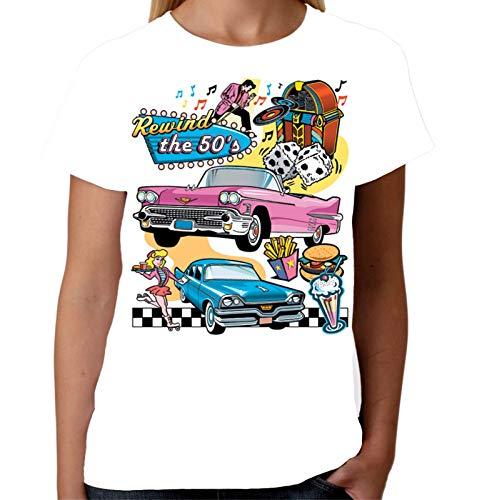 l Damen Zurückspulen Die 50Er Jahre T-Shirt Diner Rock N Roll T Hemd ()