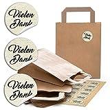 24 braune Papiertüten Papier-Tragetaschen Henkel-Tüten Geschenktüten Boden 18 x 8 x 22 cm kleine Papiertaschen + 24 runde Aufkleber Vielen Dank neutral beige Verpackung Kunde give-away