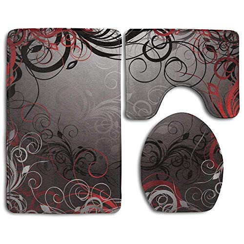 Non Slip Door Mat Outdoor, Red and Black Mystic Magical Forest Inspired Floral Swirls Leaves Bathroom Rug 3 pc Bath Mat Set Contour Rug and Lid Cover for Kitchen,Bath,Bathroom - Scheune Latex