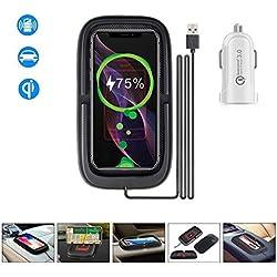 JE 15W Chargeur sans Fil Rapide Voiture, Porte-téléphone Chargeur à Induction pour iPhone 11 Pro Max/XS/XR/X/8/Galaxy S10 S9 S8 Note10 9 8 LG V30 Huawei P30(Chargeur QC 3.0 Inclus)