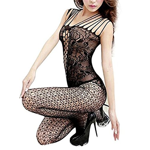 Damen Reizwäsche,Sannysis Open Crotch Mesh Fishnet Bodystocking Strumpf Dessous (schwarz, Freie Größe) (Bodystocking Strümpfe)