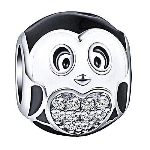 (Pinguin Bead–925Sterling Silber Charms, für Pandora, Biagi und Troll Armbänder)