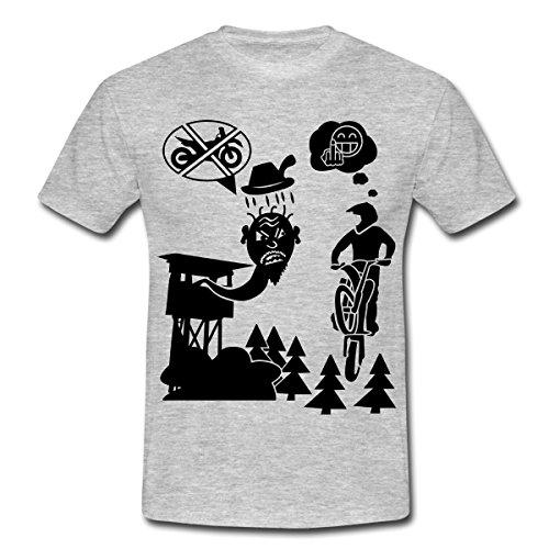 Spreadshirt Mountainbike Biker Downhill Enduro Männer T-Shirt, M, Grau meliert (Mountainbike-shirts Für Männer)