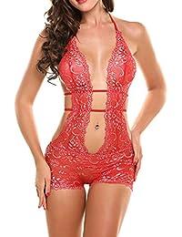 Aimado Lencería de una pieza para mujeres Decoración de Encaje ropa interior atractiva babydoll