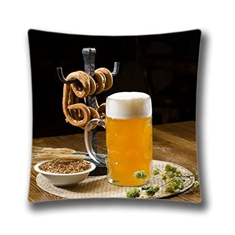 16X16 Inch (Twin Sides) Beer Pint And Pretzels Personalized Square Throw Pillow Case Magnificent Decor Cushion Covers,DIC28341