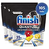 Finish Quantum Ultimate Dishwasher Tablets, Lemon - 105 Tabs (3 Packs x 35 Tabs Per Pack)