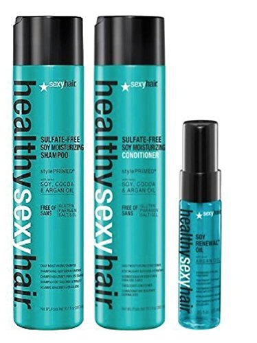 Sain sexy Hair Sulfate gratuit de soja Shampooing 300 ml et après-shampoing 300 ml + Soja Renewal Huile Format voyage 25 ml