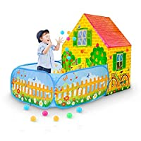 SkyNature Pop Up Kids Play Tent, Children Play House with Ball Pit, Indoor/Outdoor Discovery Game Tents for Girls, Boys, Children, Babies and Toddlers - Pretend Play Garden House