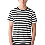 Viento Herren Gestreiftes T-Shirt (Schwarz, L)